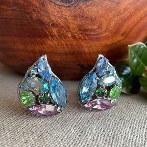 Vintage Colored Rhinestone Teardrop Clip Earrings